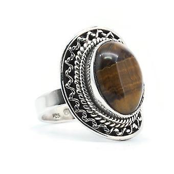 Plata de anillo 925 plata de ley tigre ojo marrón (KLE-RI-347)