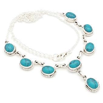 Turquoise Necklace 925 Silver Sterling Silver Necklace Necklace Blue Green (MCO 07-15)