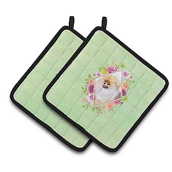 Carolines Treasures  CK4330PTHD Pomeranian #2 Green Flowers Pair of Pot Holders