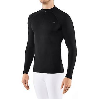 Falke Figure Hugging Warming Zipped Shirt - Noir