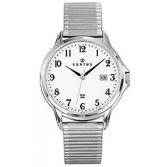 Sjekk Certus 616219-Dateur Steel sølv Dial hvite menn