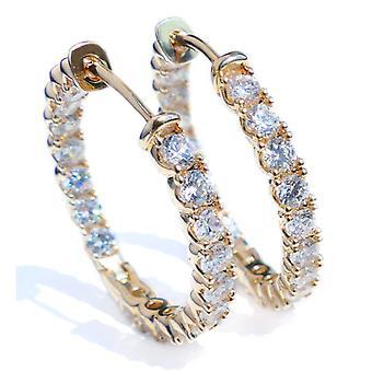 اه! المجوهرات الذهب شغل بلورات من سواروفسكي 25mm أقراط هوب، مختومة GL