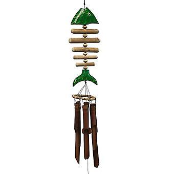 Green Koi Bone Fish Bamboo Wind Chime