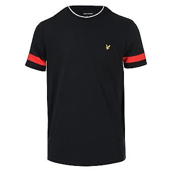 Mens Lyle And Scott Tipped T-Shirt In Black- Ribbed, Tipped Collar- Short