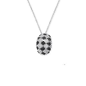 925 Sterling Silver Rhodium Plated Checkerboard Pendant Necklace Black Clear 18 Inch Jewelry Gifts for Women