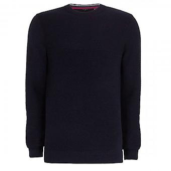 Ted Baker Pontac Crew Neck Rib Knitted Jumper Navy