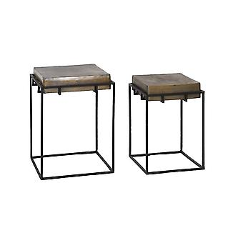 Light & Living Side Table Set Of 2 33x33x49 And 39x39x55cm Calera Antiq Oil Bronze
