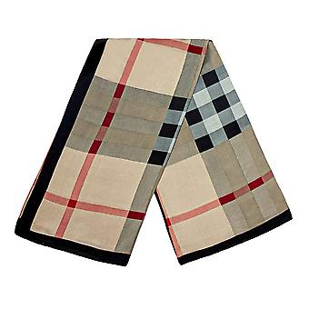 Scarf with checkerboard pattern - Brown, No. 20