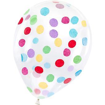 Ballons avec des confettis dans des couleurs d'arc-en-ciel (30 cm) 6-pack