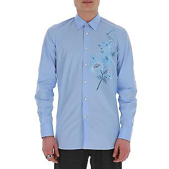 Alexander Mcqueen 595603qon664800 Hombres's Camisa de viscosa azul claro