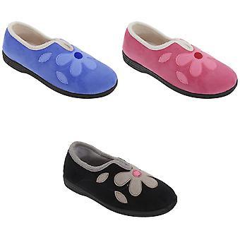 Sleepers Womens/Ladies Linda Imitation Suede Flower Slippers