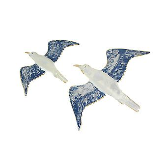 Set of 2 Metal Flying Seagulls Wall Art Nautical Hanging Home Decor Bird Plaques