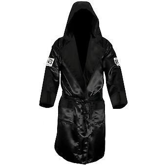 Cleto Reyes Satin Boxing Robe with Hood - Black