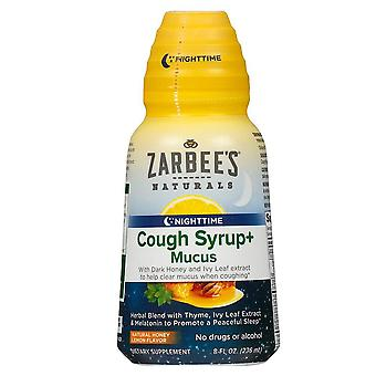 Zarbee's naturals nighttime cough syrup + mucus, natural honey lemon, 8 oz