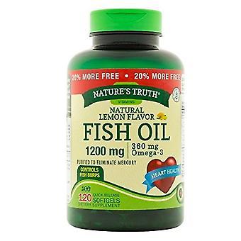 Óleo de peixe da nature's truth fish, 1200 mgs, softgels de liberação rápida, limão natural, 120 ea