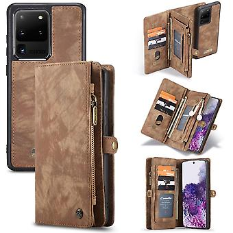 CASEME Samsung Galaxy S20 Ultra Retro Lederen Portemonnee Case -Bruin