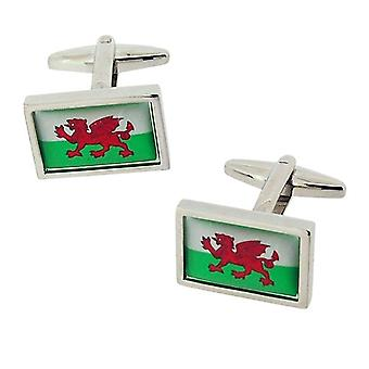 Jakob Strauss Gents Sivertone Welsh Flag Cymru Wales Oblong Metal Cufflinks