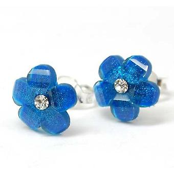 Das Olivia Collection Sterling Silber Ohrstecker tiefblauen Crystal Flower