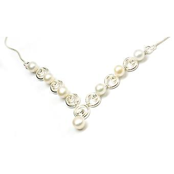 The Olivia Collection Sterling Silver Freshwater Cultured Pearl and Cz Crystal Necklace 16.5