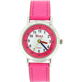 Boxx Girls Easy Read Analogue White Dial & Pink PU Strap Buckle Funky Watch