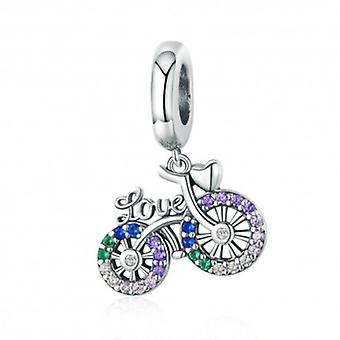 Sterling Silver Pendant Charm Love Bicycle - 6026