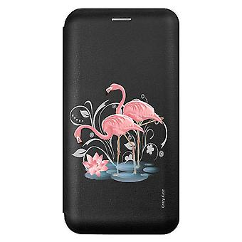 Case For Samsung Galaxy A71 Black Flamingo Pink Pattern