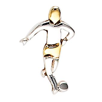 Single studs Football Football Football Player 925 Sterling Silver bicolor gold plated