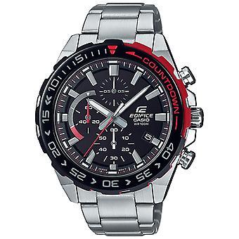 Casio Edifice Quartz Black Dial Silver Oyster Steel Bracelet Chronograph Mens Watch EFR-566DB-1AVUEF