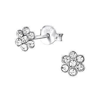 Λουλούδι - 925 ασημένια ασημένια στηρίγματα αυτιών κρυστάλλου - W25671x