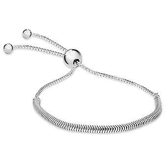 KJ Beckett serpiente y caja deslizante ajustable Pulsera - plata