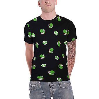 Super Mario T Shirt Yoshi Egg All Over Print new Official Mens Black