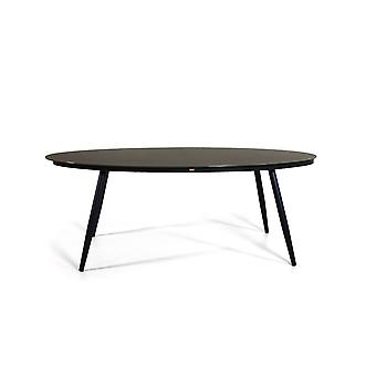 Table alu verre dépoli 200 cm, ovale - anthracite