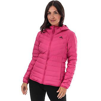 Damen's adidas Varilite 3-Streifen Kapuzen-Daunenjacke in Pink