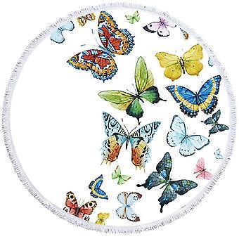 Witte achtergrond multi gekleurde vlinders strandlaken