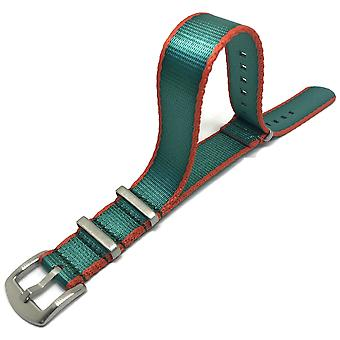 N.a.t.o zulu g10 style watch strap green/orange high quality seat belt fabric stainless steel luxury buckle