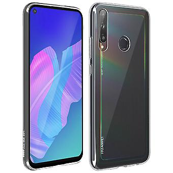 Huawei P40 Lite E Silicone Cover and Tempered Glass Film 9H black Outline