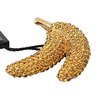 Dolce & Gabbana Banana Gold Yellow Brass Crystal Catwalk Pin Brooch -- SMYK935024