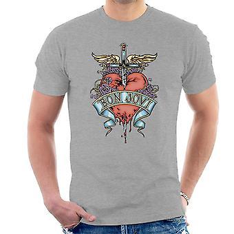 Bon Jovi sydän ja Dagger Miesten T-paita