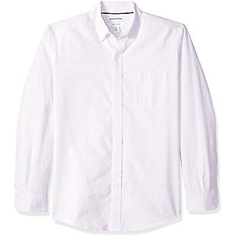 Essentials Men's Regular-Fit Long-Sleeve Solid Pocket Oxford Shirt, La...