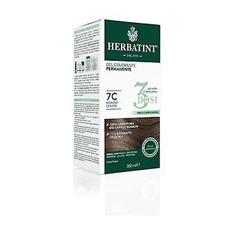 Hårfärgningsmedel Permanent Dye Gel 3 Doser 7C Ash Blonde 300 ml