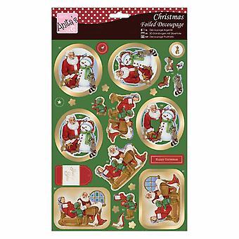 Anita's Christmas Foiled Decoupage Santa Gets A Gift