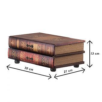 Rebecca Furniture Box Book Mini Gaveta Marrom 2 Gavetas Mdf 13x30x21