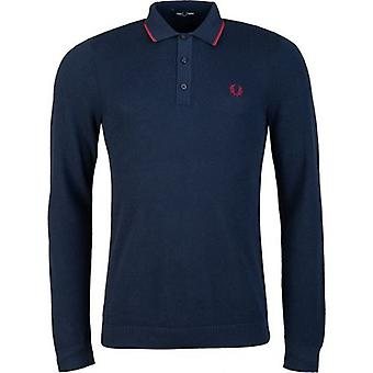 Fred Perry Tipped Knitted Long Sleeved Polo Shirt