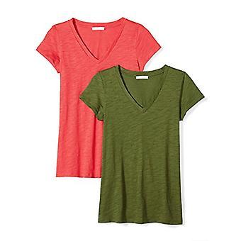 Marka - Daily Ritual Women&s Lived-in Cotton Slub Koszulka z dekoltem w serek, Kardynal czerwony/Cypress Green, Mały