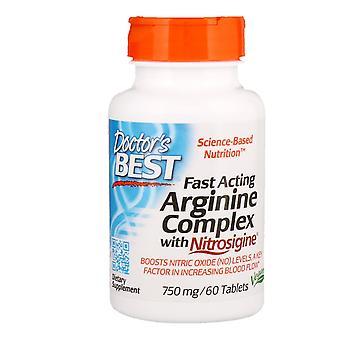 Doctor's Mejor, Complejo de Arginina de Acción Rápida con Nitrosigina, 750 mg, 60 Tabletas