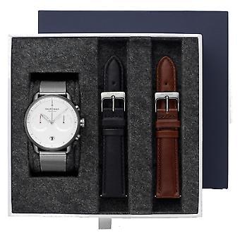 Nordgreen PI42GMXXMEGULEBLLEBR BUNDLE White Dial Gunmetal Case Wristwatch