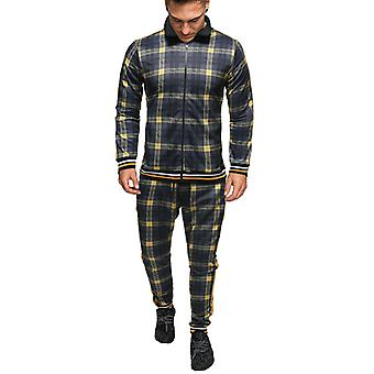 Men's Tracksuit Spring Autumn Fashion Plaid Tracksuit Casual