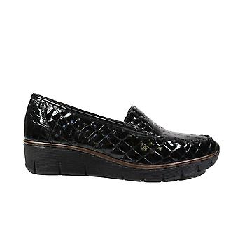 Rieker 537Q0-00 Black Patent Leather Womens Slip On Shoes