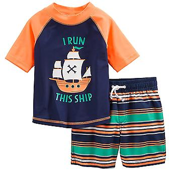 Simple Joys by Carter's Baby Boys' 2-Piece Swimsuit Trunk and Rashguard, Oran...
