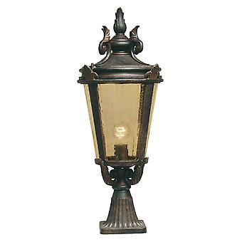 1 Light Large Outdoor Pedestal Lantern Weathered Bronze IP44, E27